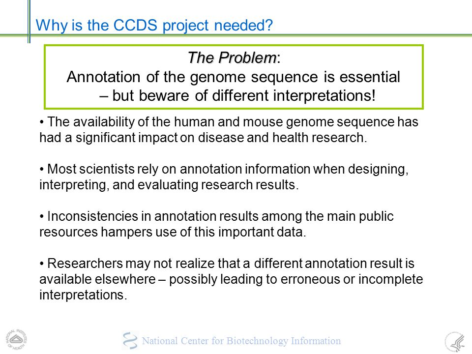 Why is the CCDS project needed