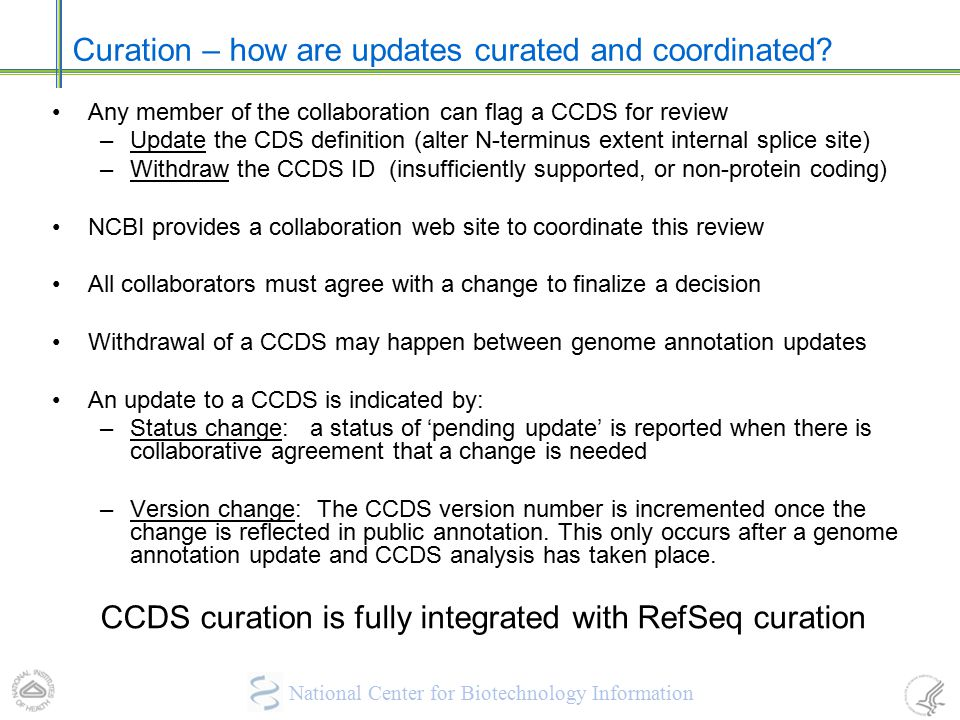Curation – how are updates curated and coordinated