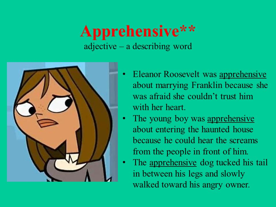 Apprehensive** adjective – a describing word