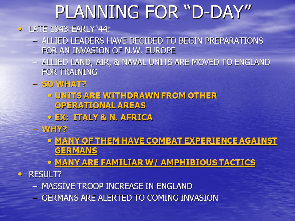 PLANNING FOR D-DAY LATE 1943-EARLY '44:
