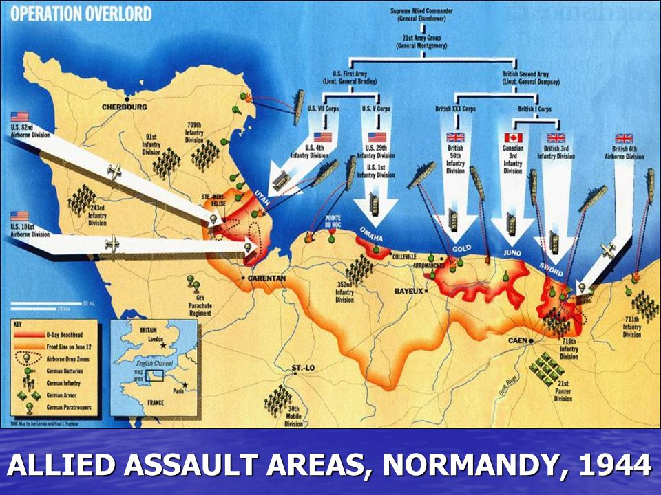 ALLIED ASSAULT AREAS, NORMANDY, 1944
