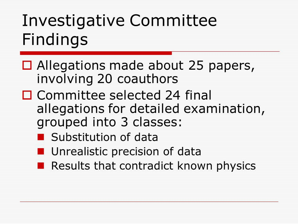 Investigative Committee Findings