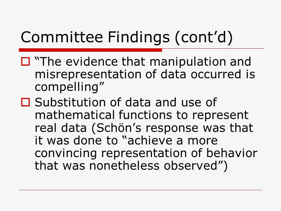Committee Findings (cont'd)