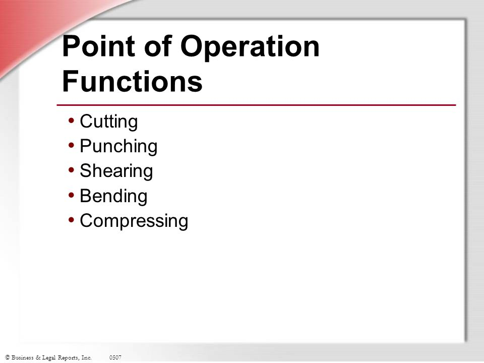 Point of Operation Functions