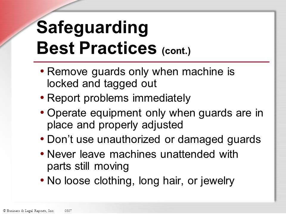 Safeguarding Best Practices (cont.)