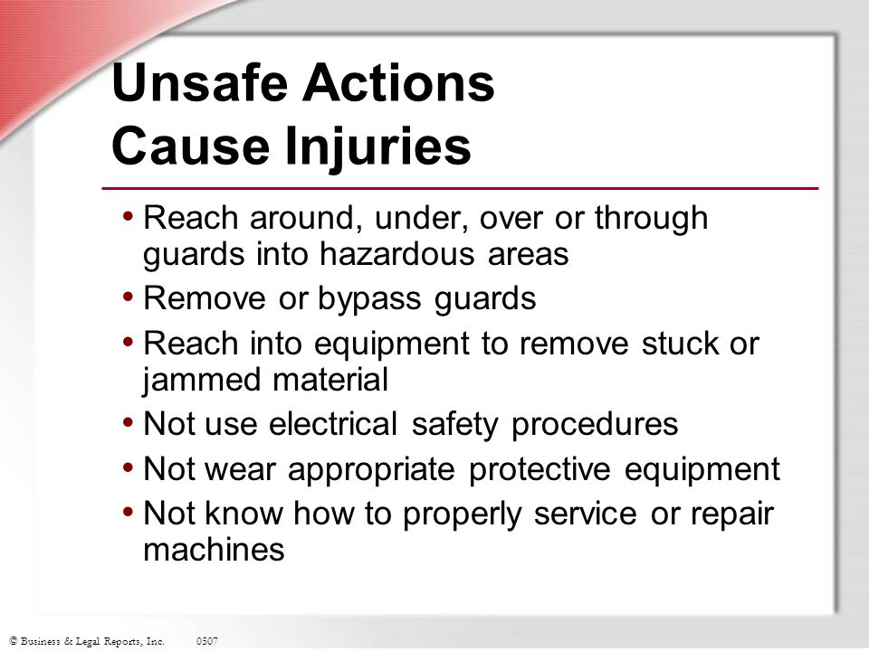 Unsafe Actions Cause Injuries