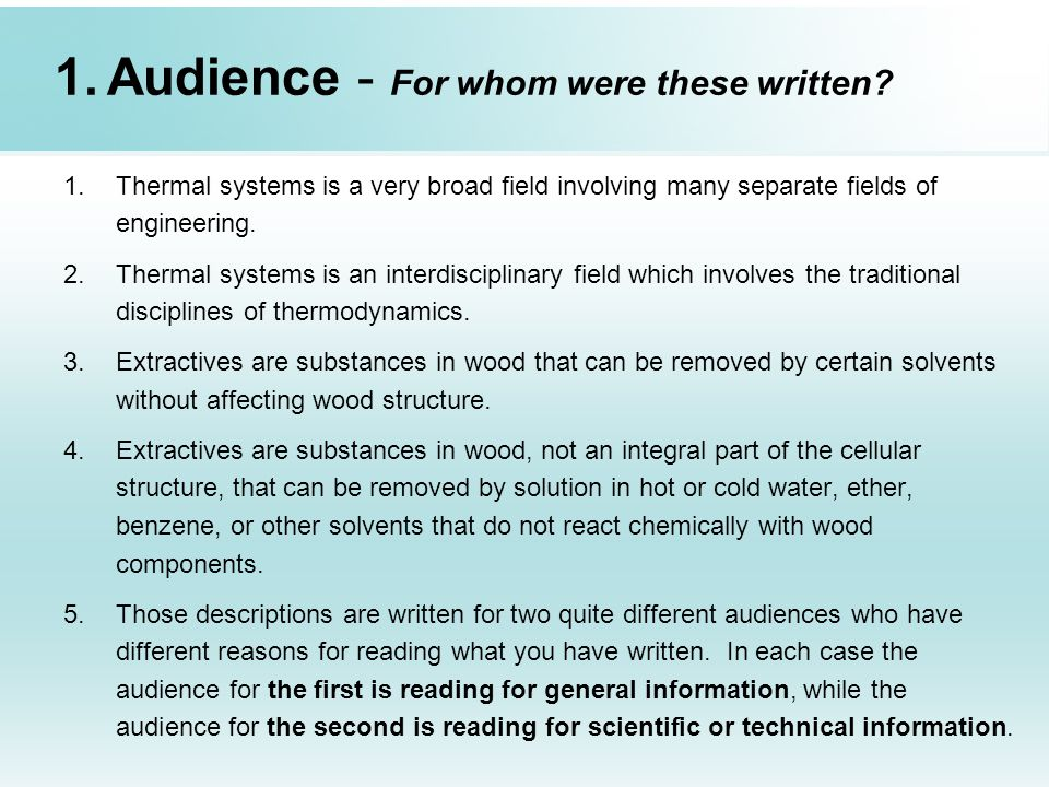 Audience - For whom were these written
