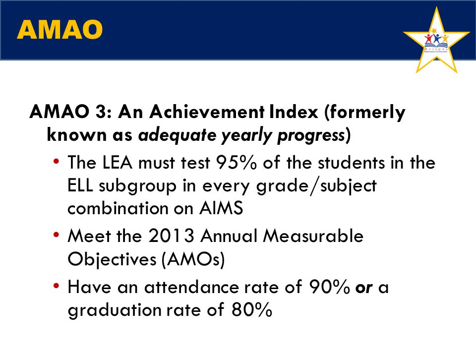 AMAO AMAO 3: An Achievement Index (formerly known as adequate yearly progress)