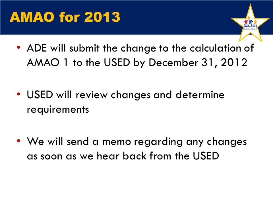 AMAO for 2013 ADE will submit the change to the calculation of AMAO 1 to the USED by December 31, 2012.