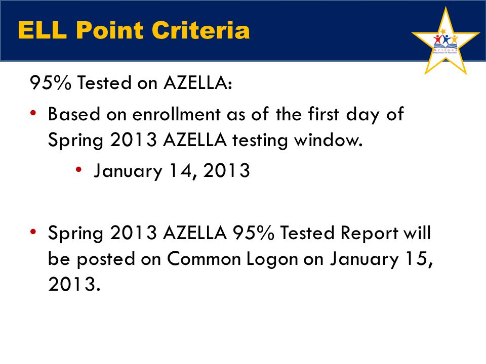 ELL Point Criteria 95% Tested on AZELLA: