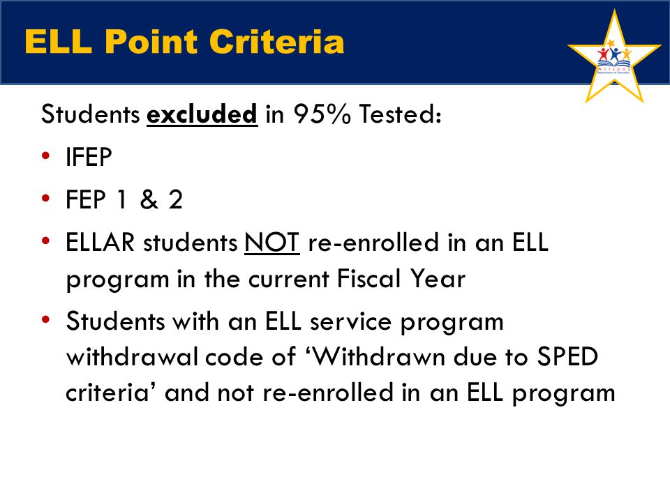 ELL Point Criteria Students excluded in 95% Tested: IFEP FEP 1 & 2
