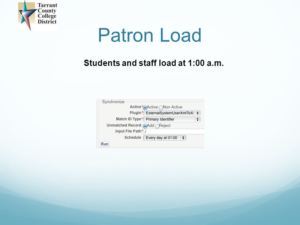 Patron Load Students and staff load at 1:00 a.m.