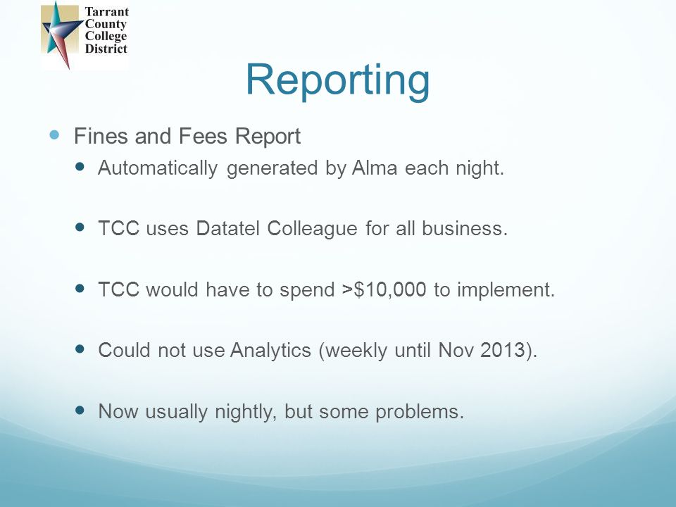 Reporting Fines and Fees Report