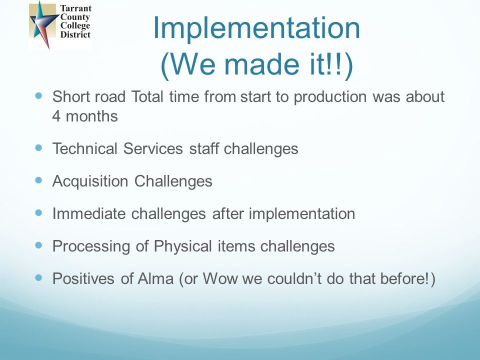 Implementation (We made it!!)