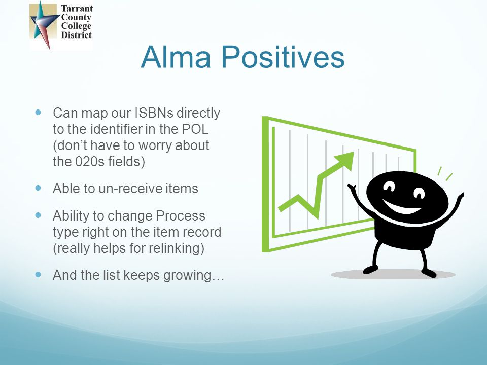 Alma Positives Can map our ISBNs directly to the identifier in the POL (don't have to worry about the 020s fields)