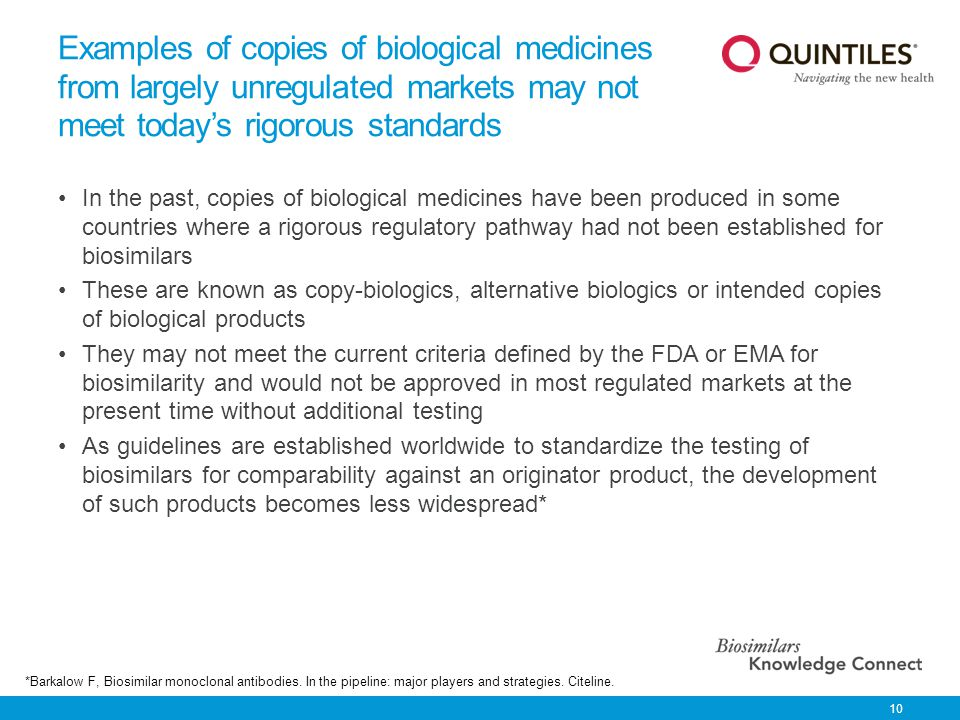 Examples of copies of biological medicines from largely unregulated markets may not meet today's rigorous standards