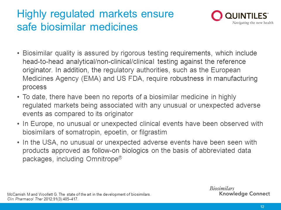 Highly regulated markets ensure safe biosimilar medicines