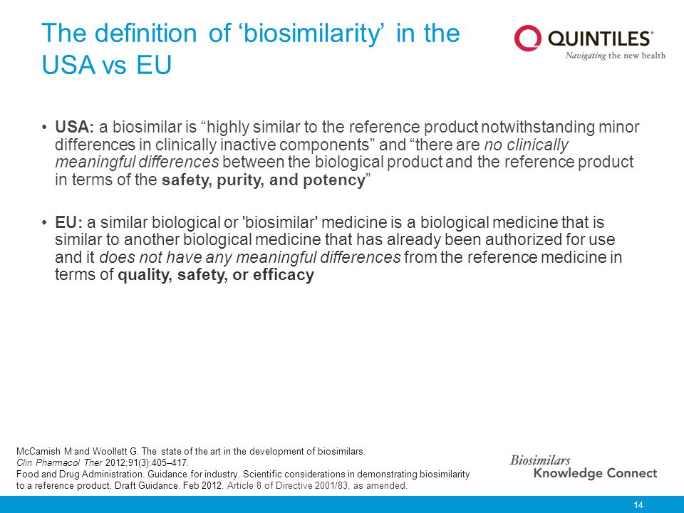 The definition of 'biosimilarity' in the USA vs EU