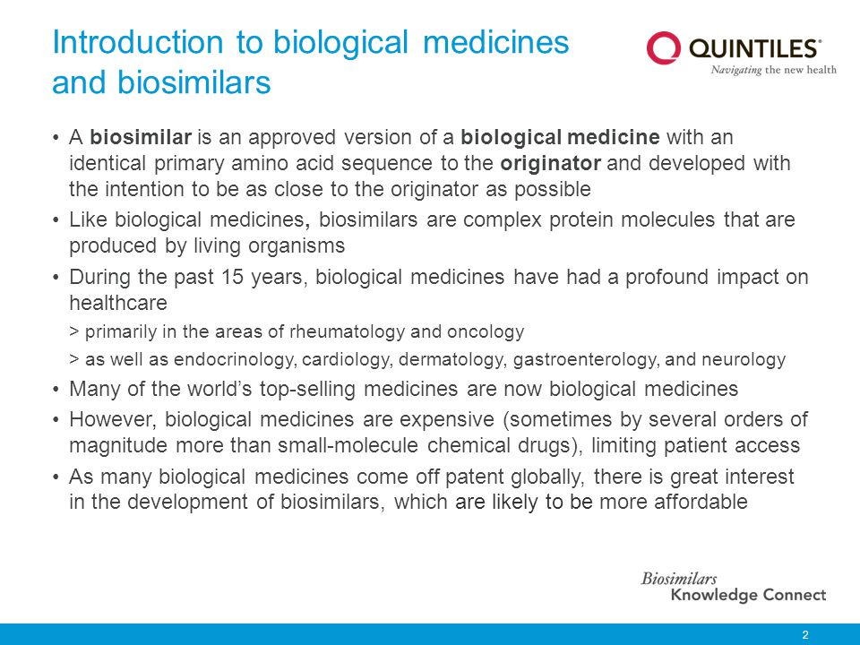 Introduction to biological medicines and biosimilars