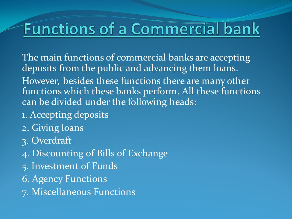 Functions of a Commercial bank