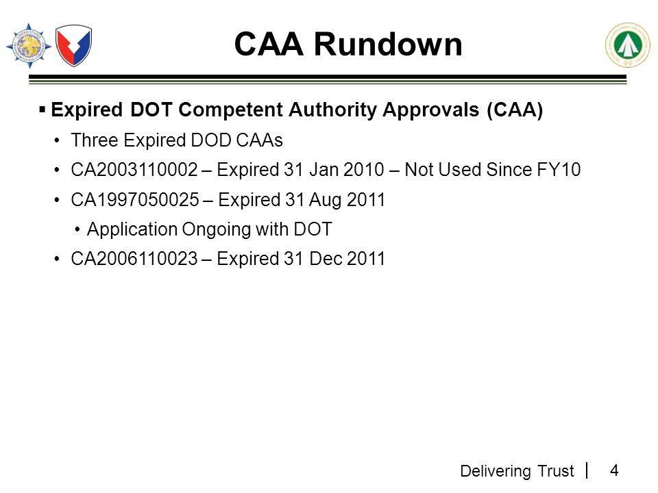 CAA Rundown Expired DOT Competent Authority Approvals (CAA)