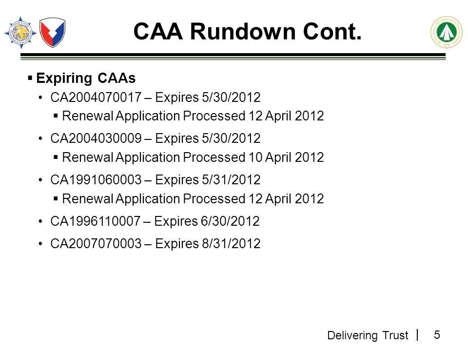 CAA Rundown Cont. Expiring CAAs CA2004070017 – Expires 5/30/2012