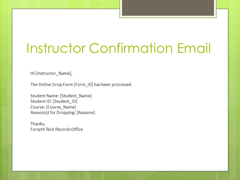 Instructor Confirmation Email