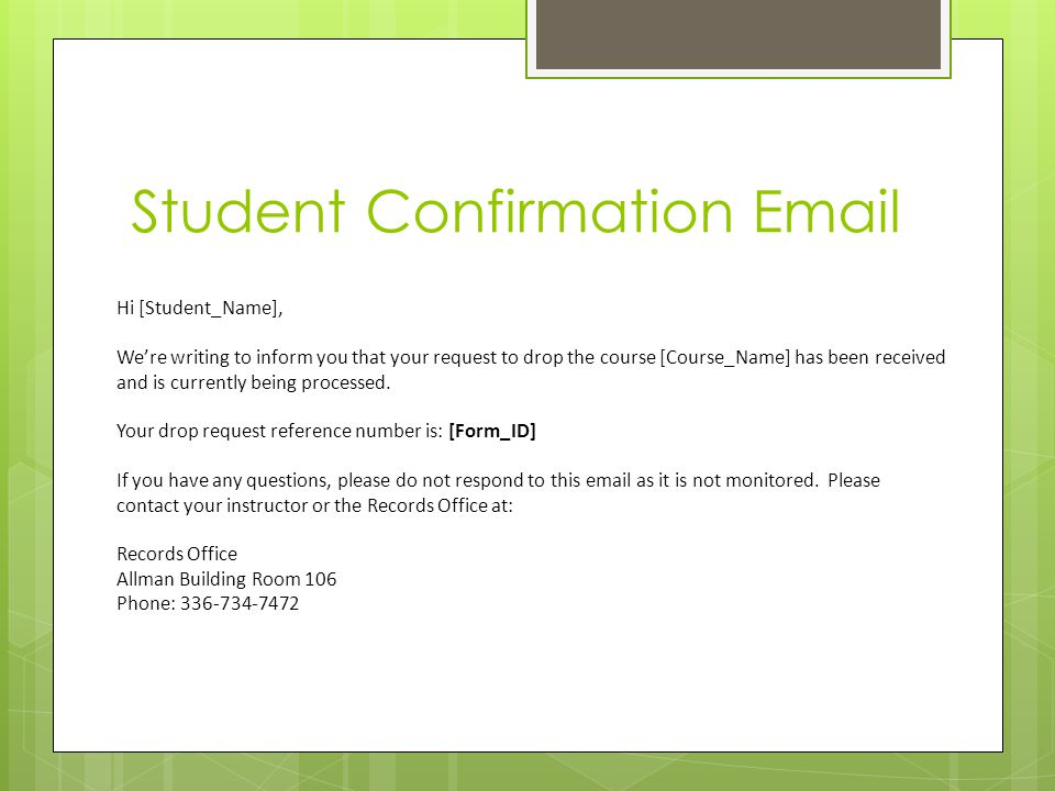Student Confirmation Email