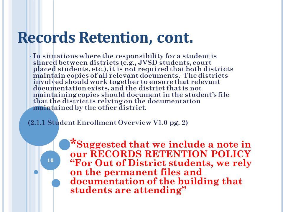 Records Retention, cont.