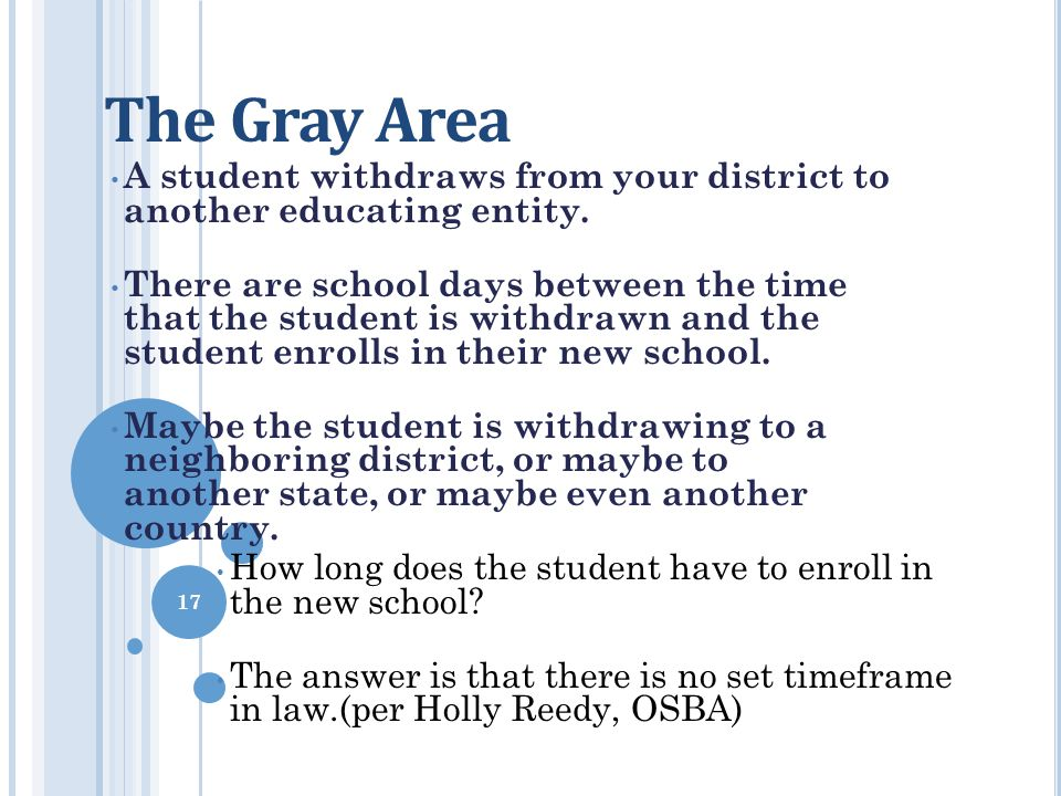 The Gray Area A student withdraws from your district to another educating entity.