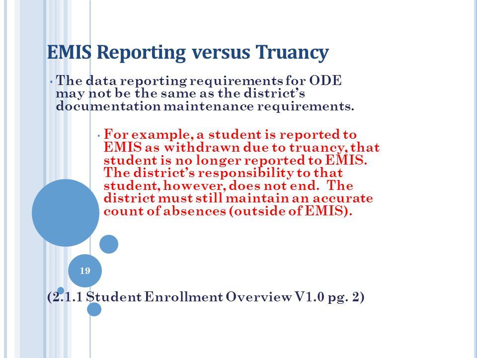 EMIS Reporting versus Truancy