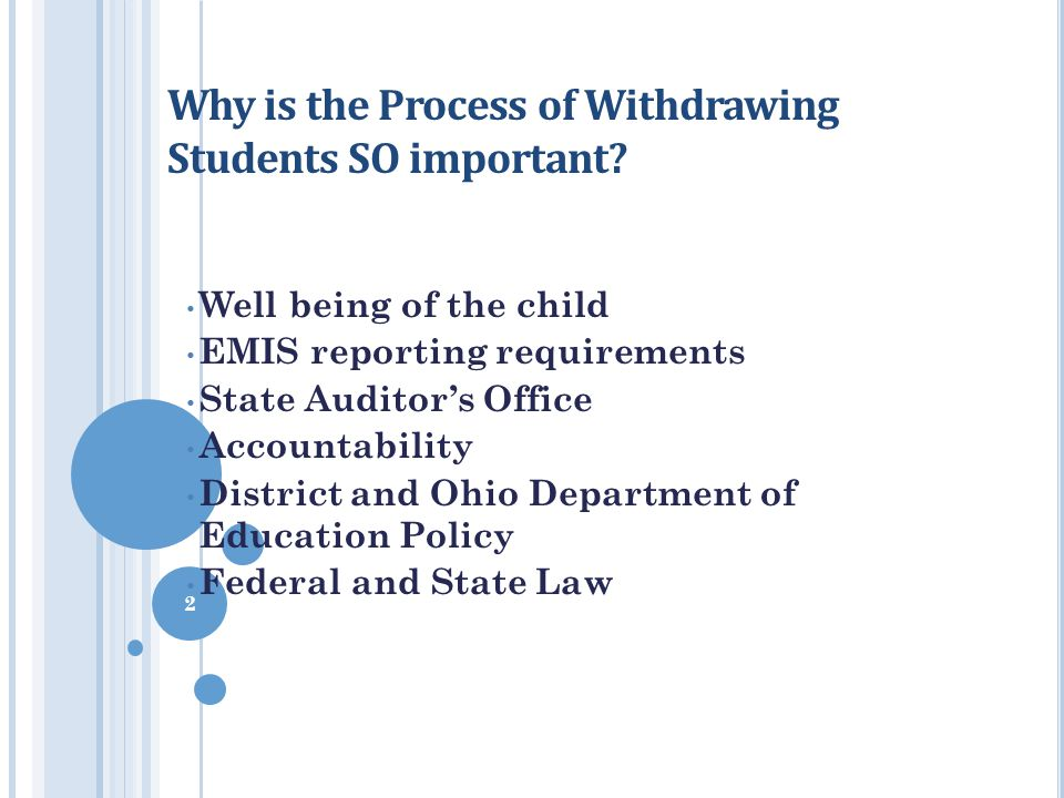 Why is the Process of Withdrawing Students SO important