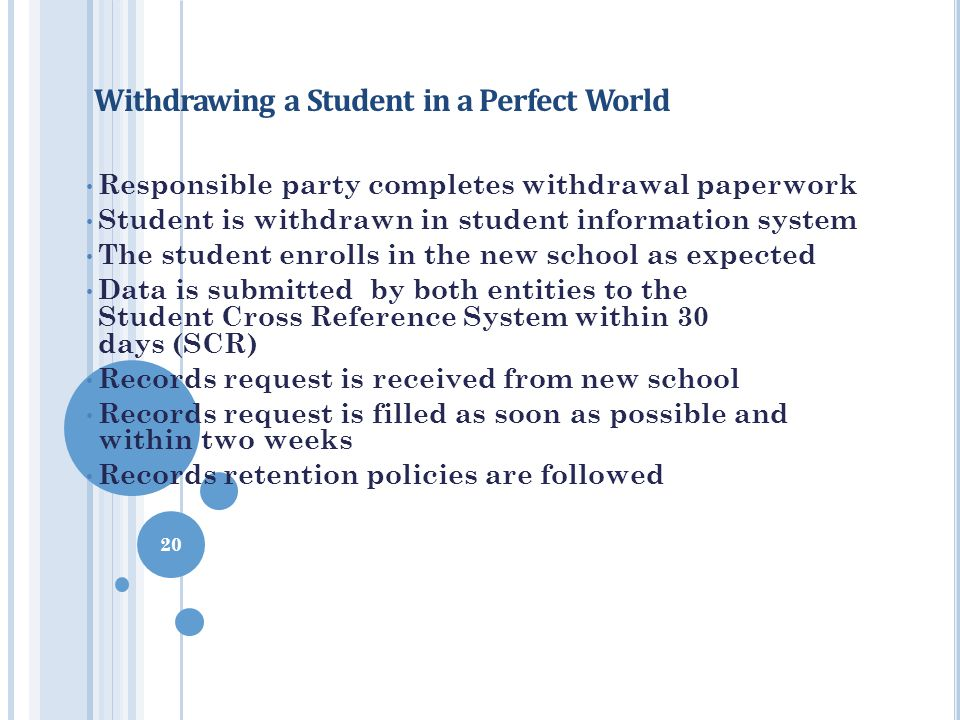 Withdrawing a Student in a Perfect World