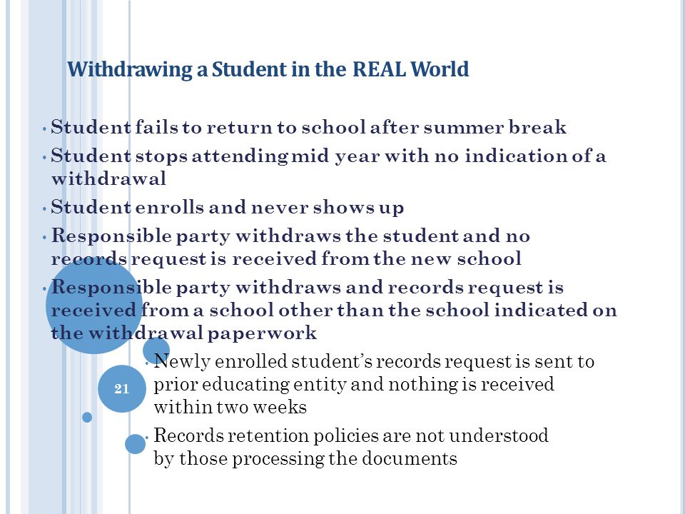 Withdrawing a Student in the REAL World