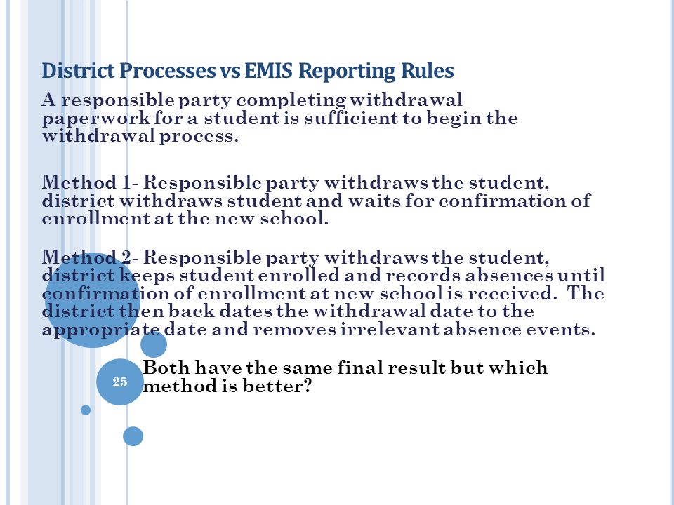 District Processes vs EMIS Reporting Rules