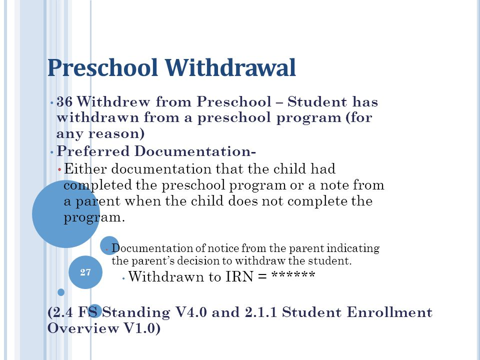 Preschool Withdrawal 36 Withdrew from Preschool – Student has withdrawn from a preschool program (for any reason)