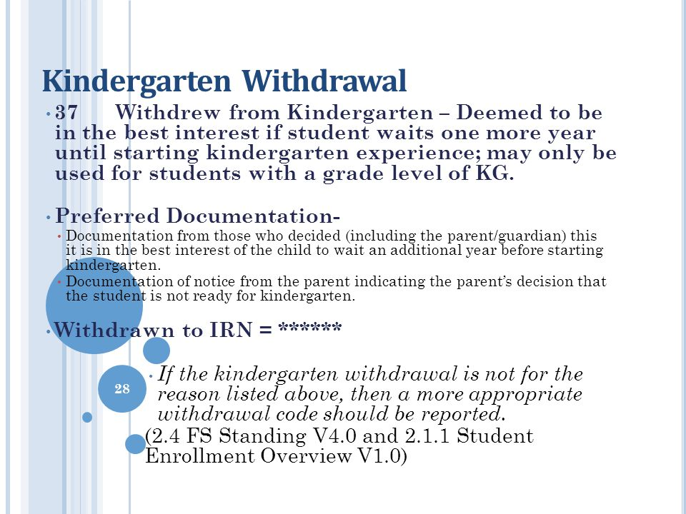 Kindergarten Withdrawal