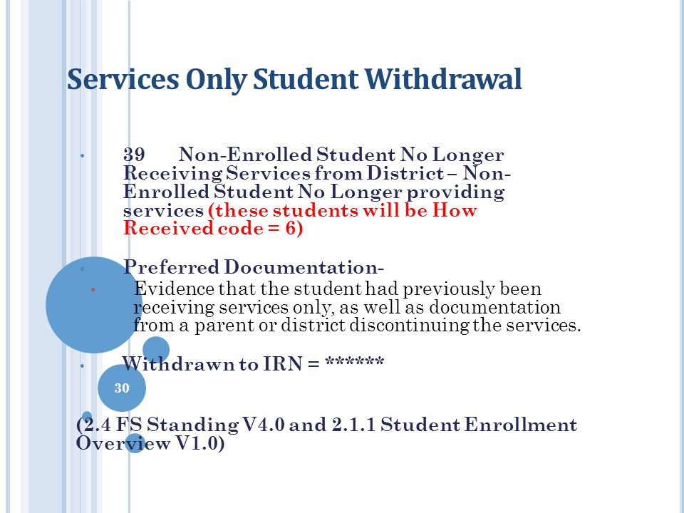 Services Only Student Withdrawal