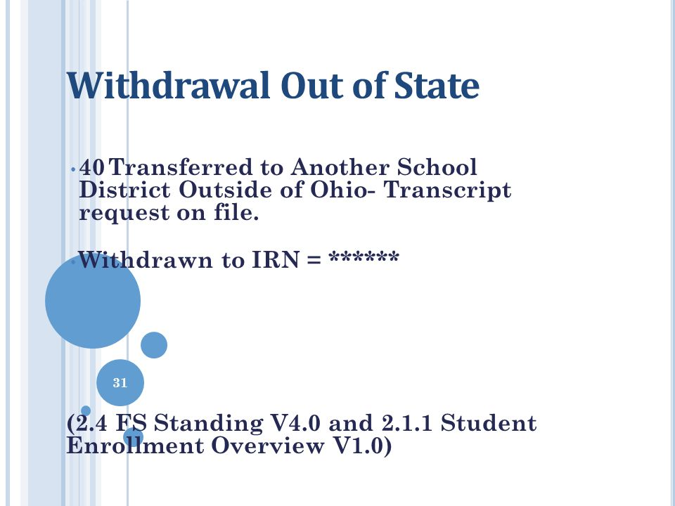 Withdrawal Out of State