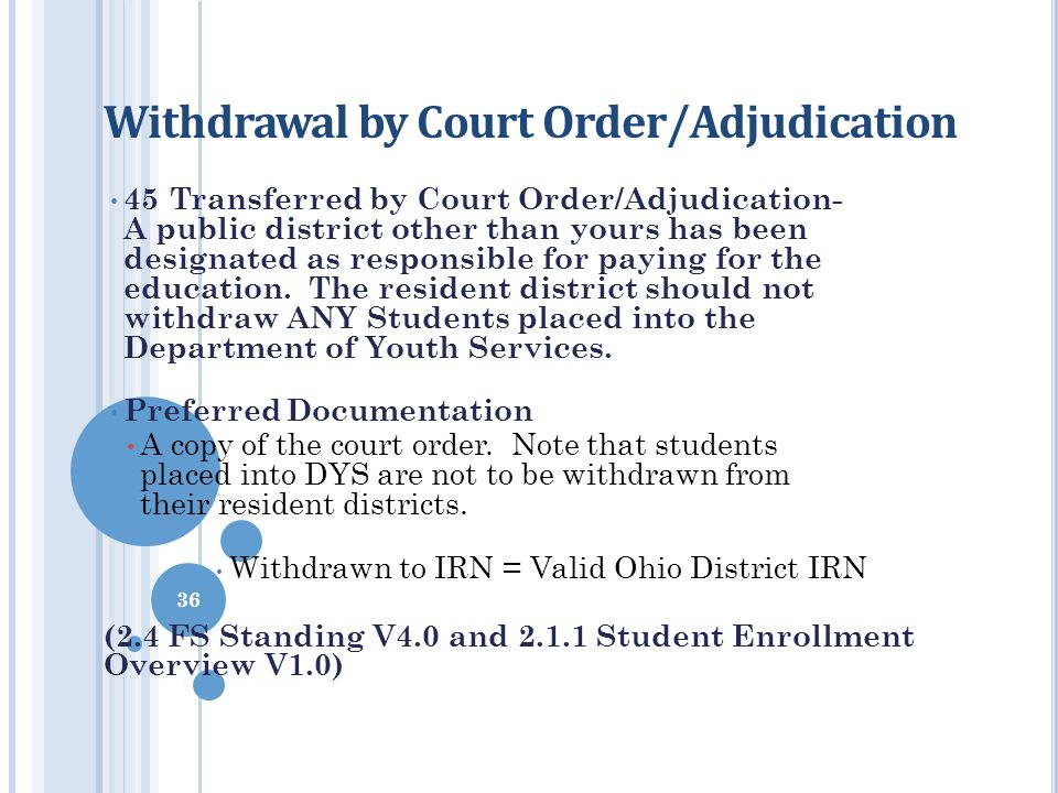Withdrawal by Court Order/Adjudication