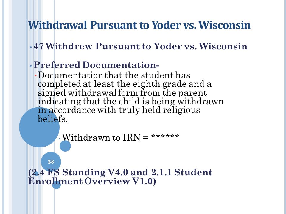 Withdrawal Pursuant to Yoder vs. Wisconsin