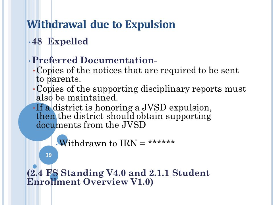 Withdrawal due to Expulsion