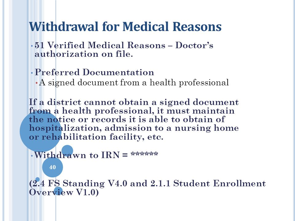 Withdrawal for Medical Reasons