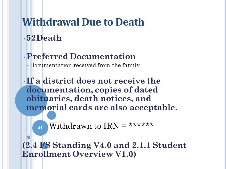 Withdrawal Due to Death