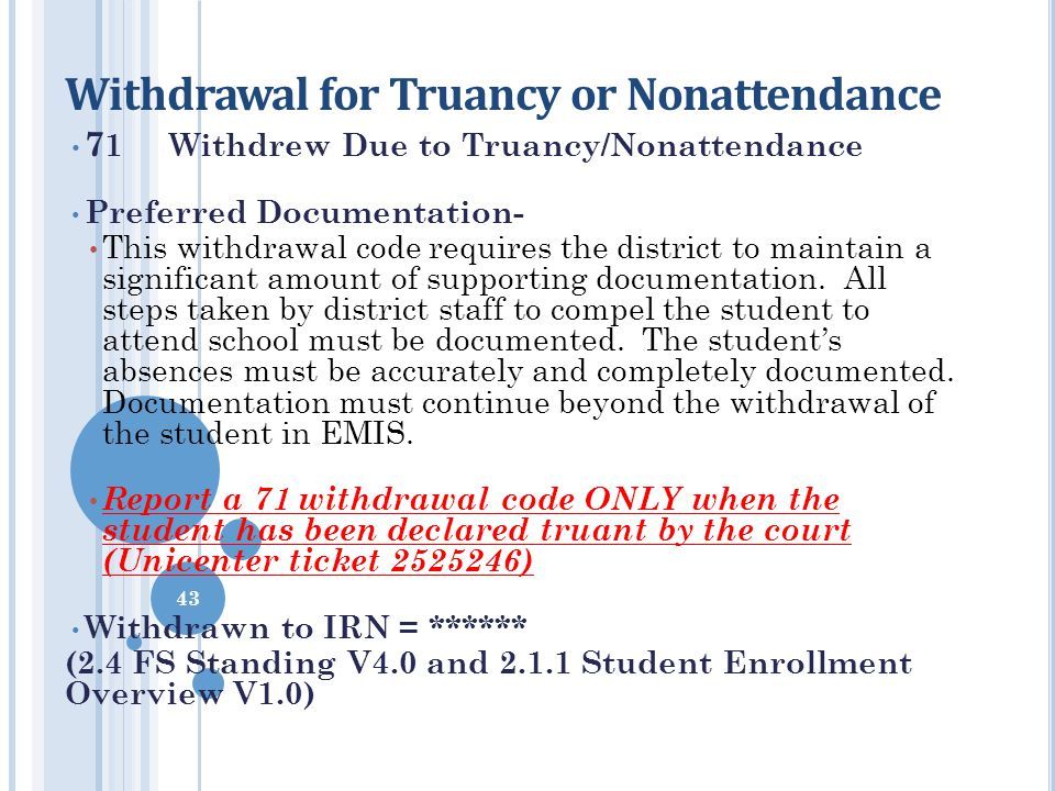 Withdrawal for Truancy or Nonattendance