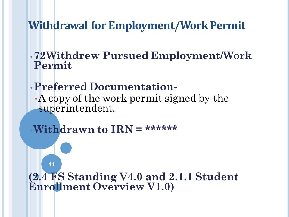 Withdrawal for Employment/Work Permit