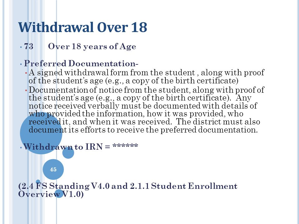 Withdrawal Over 18 73 Over 18 years of Age Preferred Documentation-