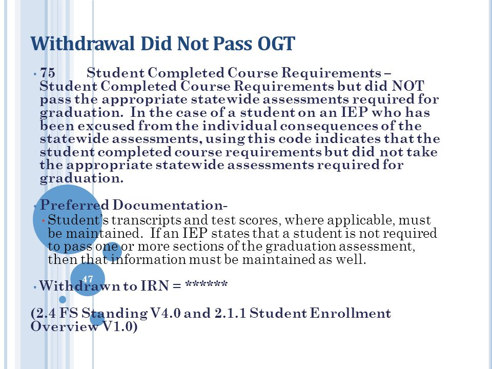 Withdrawal Did Not Pass OGT