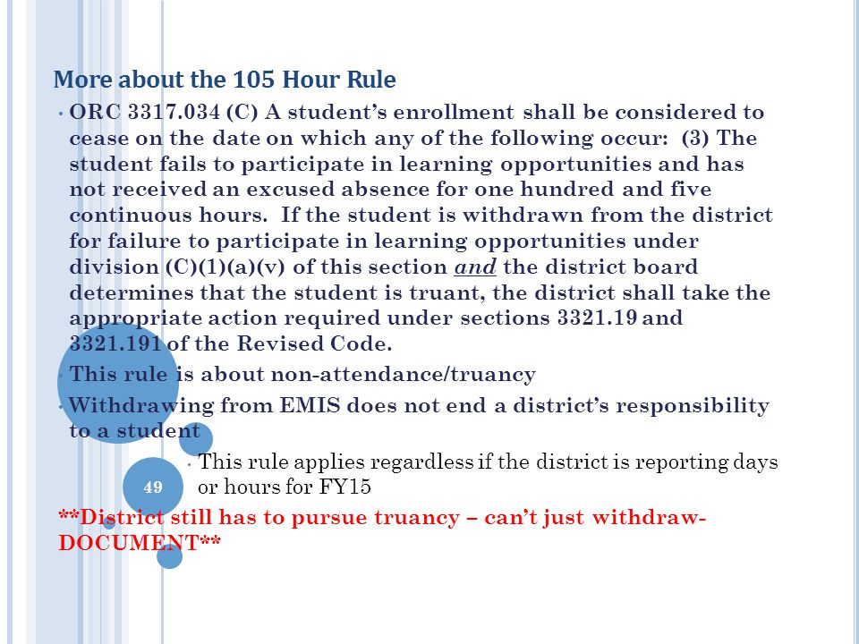 More about the 105 Hour Rule