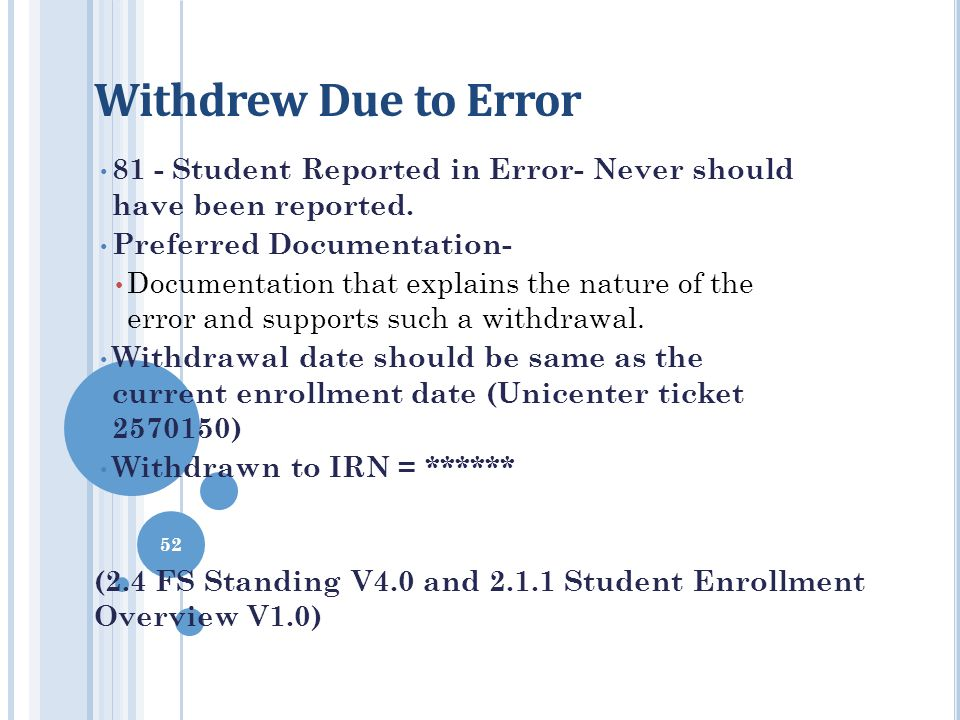 Withdrew Due to Error 81 - Student Reported in Error- Never should have been reported. Preferred Documentation-